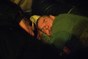 Портрет мужчины в пункте обогрева благотворительной организации Ночлежка на Боровой улице. 2009, Санкт Петербург.