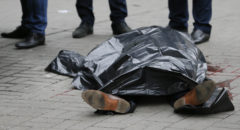 Covered body of former lawmaker of Russian State Duma Voronenkov, who was shot dead, is seen in central Kiev
