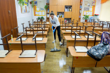 Preparations for new school year in Novosibirsk, Russia