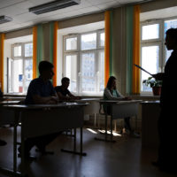 Russian school graduates take Unified State Exam in Russian language