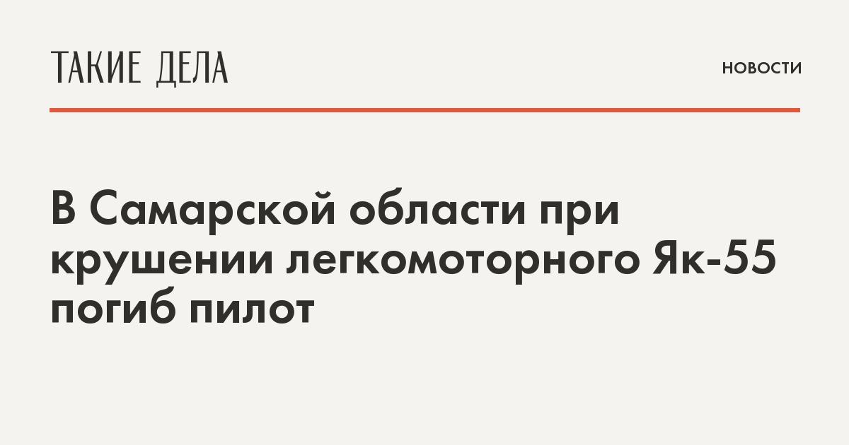 В Самарской области при крушении легкомоторного Як-55 погиб пилот